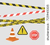 attention signs set. police... | Shutterstock .eps vector #725945335