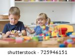 caucasian kids are playing with ... | Shutterstock . vector #725946151