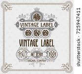 old vintage card with floral... | Shutterstock .eps vector #725947411