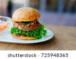 delicious mexican vegan burger... | Shutterstock . vector #725948365