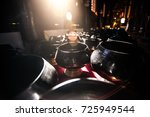 a lot of monk's bowl or alms... | Shutterstock . vector #725949544