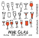 hand drawn glass wine isolated. ... | Shutterstock .eps vector #725949805