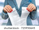 business woman tearing contract ... | Shutterstock . vector #725950645