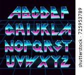 alphabet 80's retro font.vector ... | Shutterstock .eps vector #725953789