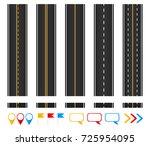 roads. set of seamless highways ... | Shutterstock .eps vector #725954095