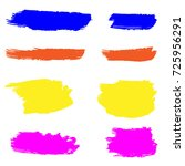 set of hand painted colorful... | Shutterstock .eps vector #725956291
