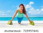 active woman doing fitness... | Shutterstock . vector #725957641