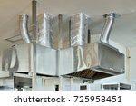 big steel stainless cooker hood ... | Shutterstock . vector #725958451