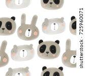 print with cute animal. panda ... | Shutterstock . vector #725960071