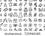 hand drawn seamless pattern... | Shutterstock .eps vector #725960185