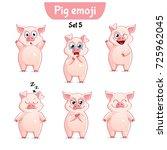 vector set of cute pig... | Shutterstock .eps vector #725962045