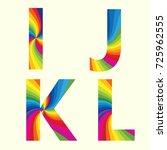stylish rainbow alphabet.... | Shutterstock .eps vector #725962555