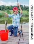 happy cute boy enjoyed the...   Shutterstock . vector #725964364