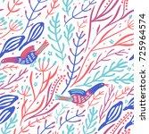 vector floral seamless pattern... | Shutterstock .eps vector #725964574
