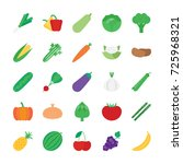 vector icon set   fruits and... | Shutterstock .eps vector #725968321