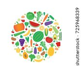 vector banner with fruits and... | Shutterstock .eps vector #725968339