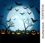 blue halloween background with... | Shutterstock .eps vector #725970745