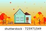 village house in autumn season... | Shutterstock .eps vector #725971549