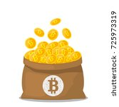 a full bag of gold bitcoins.... | Shutterstock .eps vector #725973319