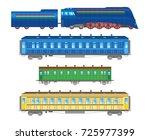 flat  retro railway locomotive... | Shutterstock . vector #725977399