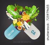 high calcium foods in open... | Shutterstock .eps vector #725979655