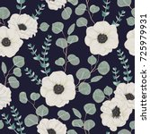 seamless pattern with white... | Shutterstock .eps vector #725979931