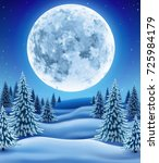 winter landscape with moon ... | Shutterstock .eps vector #725984179