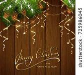 gold lettering merry christmas... | Shutterstock .eps vector #725986045