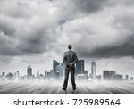 businessman standing with back... | Shutterstock . vector #725989564
