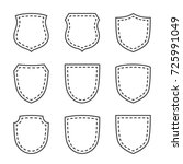shield shape icons set. black... | Shutterstock .eps vector #725991049