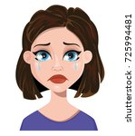 woman crying. female emotion ... | Shutterstock .eps vector #725994481