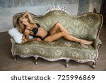 beautiful girl blonde in... | Shutterstock . vector #725996869