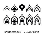 Military Ranks Stripes and Chevrons. Vector Set Army Insignia. Sergeant