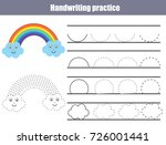 handwriting practice sheet.... | Shutterstock .eps vector #726001441