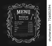 blackboard restaurant menu... | Shutterstock .eps vector #726001594