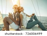 romantic couple in love on sail ... | Shutterstock . vector #726006499