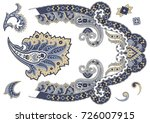 set of paisley elements in blue ... | Shutterstock .eps vector #726007915