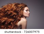 portrait of woman with long... | Shutterstock . vector #726007975
