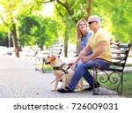 young woman and blind man with... | Shutterstock . vector #726009031