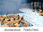 colorful canape on skewers with ... | Shutterstock . vector #726017461