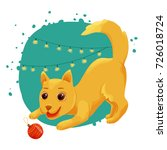 yellow dog with a ball and a... | Shutterstock .eps vector #726018724