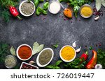 set of various spices and herbs ... | Shutterstock . vector #726019447