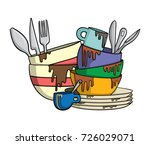 dirty dishes and cutlery | Shutterstock .eps vector #726029071