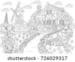 coloring page of rural... | Shutterstock .eps vector #726029317