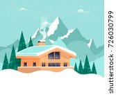 chalet  winter landscape with... | Shutterstock .eps vector #726030799