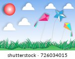 paper art flying kite and...   Shutterstock .eps vector #726034015