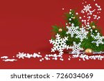 red christmas background snow... | Shutterstock . vector #726034069