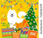 2018 happy new year greeting... | Shutterstock .eps vector #726036199