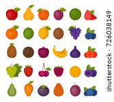 fruits and berries icons set.... | Shutterstock .eps vector #726038149