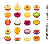 fruits and berries icons set.... | Shutterstock .eps vector #726038161